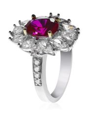 Carat* - Metallic Ruby Flower Ring - Lyst