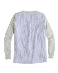 J.Crew - Gray Mixed Media Sweater in Heather Dusk - Lyst
