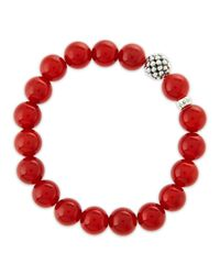 Lagos - 10mm Caviar-ball Red Agate Beaded Stretch Bracelet - Lyst