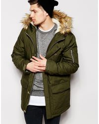 ASOS - Natural Parka Jacket With Faux Fur Trim In Khaki for Men - Lyst