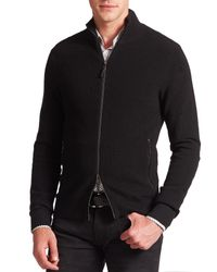 Michael Kors | Black Leather-trimmed Wool-blend Sweater for Men | Lyst
