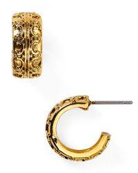 Lauren by Ralph Lauren - Metallic Beaded Delight Small Textured Huggie Hoop Earrings - Lyst