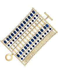 Lauren by Ralph Lauren - Gold-Tone Blue Stone Hammered Metal Bracelet - Lyst