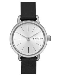 Skagen - Black 'hagen' Leather Strap Watch - Lyst