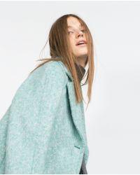 Zara | Blue Wool Coat | Lyst