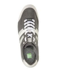 BOSS Green - Gray Sneaker Aki in Pelle Con Inserti in Velours for Men - Lyst