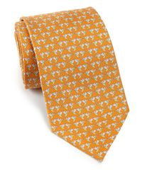 Ferragamo | Orange Hummingbird Silk Tie for Men | Lyst