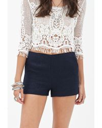 Forever 21 - Blue Classic Tweed Shorts - Lyst