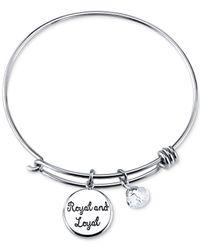 Disney | Metallic Princess Tiara Crystal Charm Bracelet In Stainless Steel | Lyst