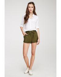 Forever 21 | Green Linen-blend Drawstring Shorts | Lyst