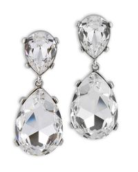 Kenneth Jay Lane | Metallic Crystal Teardrop Clip Earring | Lyst