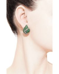 Gioia | Green Tsavorite and Diamond Melted Heart Earclips | Lyst