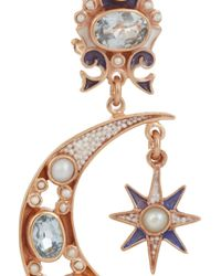 Percossi Papi - Metallic Sun and Moon Rose Goldplated Topaz and Pearl Earrings - Lyst