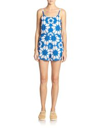 Alice + Olivia - Blue Printed Flutter Short Jumpsuit - Lyst