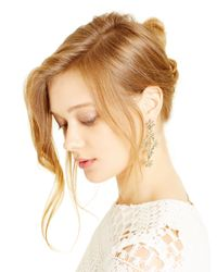 Oscar de la Renta - Natural Crystal Golden Shadow Pave Flower Drop Earrings - Lyst