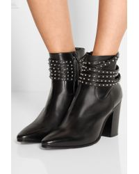 Saint Laurent - Black Studded Leather Ankle Boots - Lyst