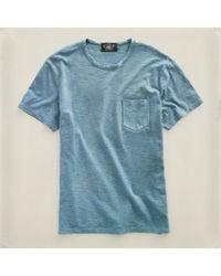 RRL - Blue Crewneck Pocket Tshirt for Men - Lyst