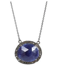 Adornia | Blue Gemstone And Champagne Diamond Fifth Ave Necklace | Lyst