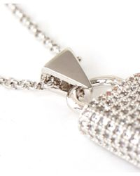 Eddie Borgo | Metallic Silver-plated Crystal Pave Padlock Pendant | Lyst
