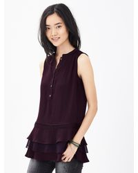 Banana Republic | Purple Tiered Ruffle Sleeveless Blouse | Lyst