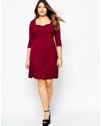 ASOS | Red Skater Dress With Sweetheart Neck | Lyst