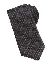 John Varvatos - Black Striped Grid Silk Slim Tie for Men - Lyst