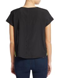 Kensie | Yellow Big Dot Short Sleeve Top | Lyst
