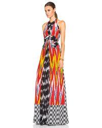 Altuzarra - Red Ikat-print Georgette Halter Dress - Lyst