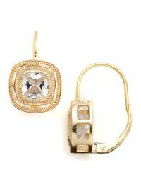 Lord & Taylor | Metallic 18 Kt Gold Over Sterling Silver Bezel Set Cubic Zirconia Drop Earrings | Lyst