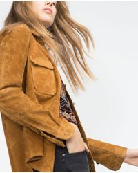 Zara | Brown Leather Overshirt | Lyst