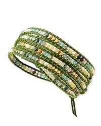 Nakamol | Green Mother Of Pearl & Jasper Beaded Wrap Bracelet | Lyst