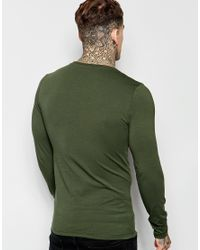 ASOS - Extreme Muscle Long Sleeve T-shirt With Roman Numeral Print In Green for Men - Lyst