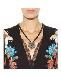 Roberto Cavalli - Black Embellished Necklace - Lyst