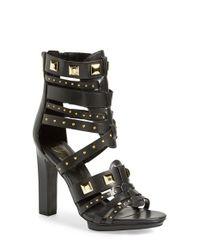 Fergie - Black 'bonnie' Studded Strappy Sandal - Lyst