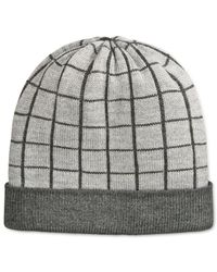 Michael Kors | Gray Michael Windowpane Beanie for Men | Lyst