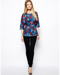 ASOS | Blue Peplum Top in Dark Floral | Lyst