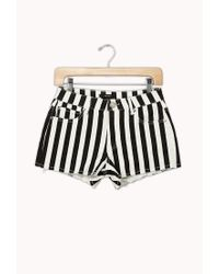 Forever 21   Black Frayed Striped Denim Shorts   Lyst