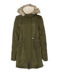 Vero Moda | Green Long Padded Faux Fur Trim Parka | Lyst