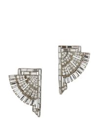 Ben-Amun | Metallic Art Deco Swarovski Crystal Clip-On Earrings | Lyst