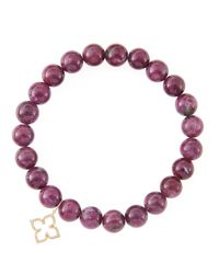 Sydney Evan | Purple 8Mm Natural Ruby Beaded Bracelet With 14K Gold/Diamond Small Moroccan Flower Charm (Made To Order) | Lyst