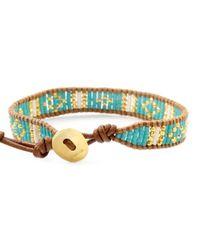 Chan Luu | Blue Turquoise Mix Beaded Cuff Bracelet On Beige Leather | Lyst