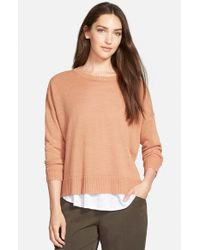 Eileen Fisher | Natural Boxy Knit Organic Linen Top | Lyst