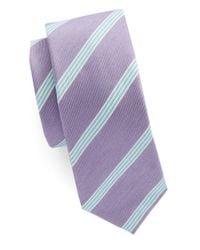 Original Penguin | Purple Striped Cotton Tie for Men | Lyst