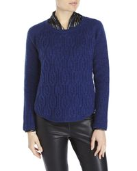 Qi - Blue Cashmere Cable Front Sweater - Lyst
