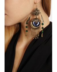Etro - Blue Gold-Plated, Sodalite And Tiger'S Eye Earrings - Lyst