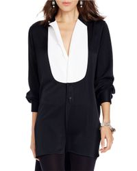 Polo Ralph Lauren - Black Satin Pique-bib Menswear-inspired Tunic Shirt - Lyst