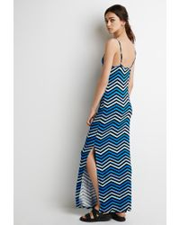 Forever 21 - Blue Chevron-striped Maxi Dress - Lyst