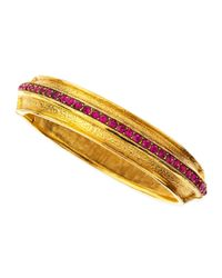 Jose & Maria Barrera | Metallic Fuchsia Pave Crystal Gold-plate Bangle | Lyst
