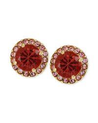 Betsey Johnson | Goldtone Pink Crystal Round Stud Earrings | Lyst