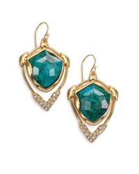 Alexis Bittar | Metallic Miss Havisham Mosaic Chrysocolla & Crystal Snake Chain Drop Earrings | Lyst